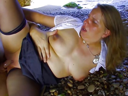 Erotic sex at the public beach with charming girl Marion Moon