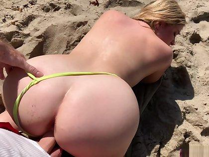 Stepmom on vacation seduces stepson on the beach (POV)