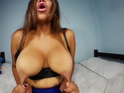 Look at my tits, I have a lot of milk, nipple clamps increase my pleasure.