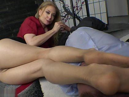Nina Hartley nylon feet footjob and blowjob