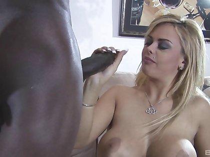 Superb blonde rambling as she gives black cock a stimulating handjob then gets nailed