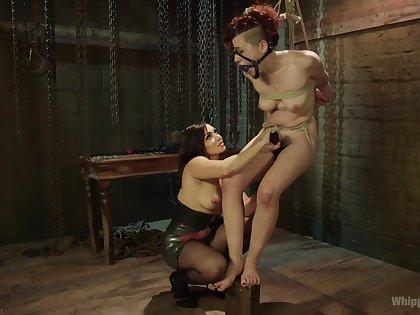 Enslaved girl endures mistress's brutal fisting and toy fucking