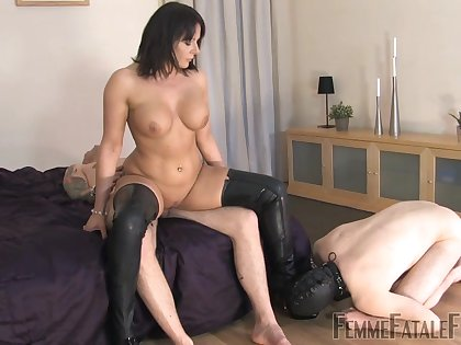 Slave husband watches as Mistress Carly rides another man's dick