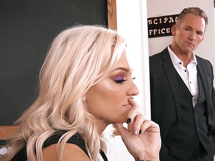 Low-spirited MILF professor ends up having sex with her colleague
