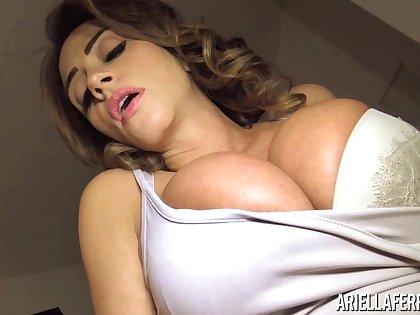Big tittied milf Ariella Ferrera is finger fucking soaking punani