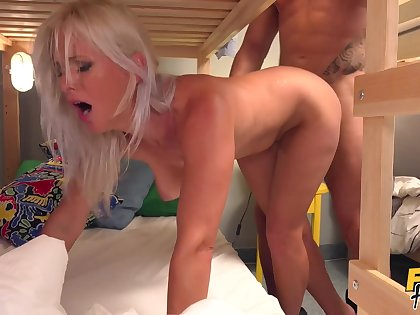 Blonde MILF Kathy hooks up on touching some dude in hostel. What a slut!