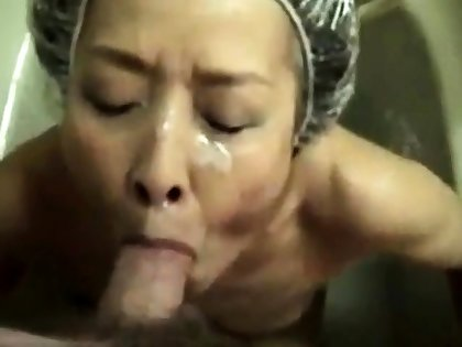 Mature Asian layman facial