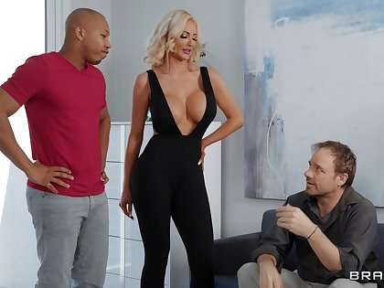Black wood gives sultry blonde bombshell Nicolette Shea what she needs