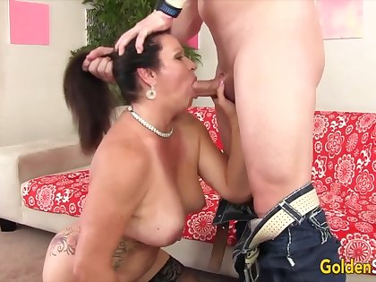 Cock hungry old women taking hard dicks in their mouth and perform amazing blowjobs