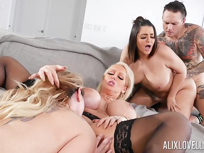 Awesome group fuck not far from Alix Lovell, Alura Jenson with an increment of Kiki Dare