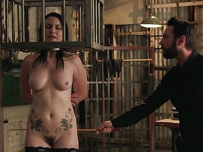 Energized mature caged and roughly fucked in crazy BDSM enactment