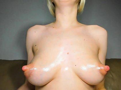 Big Boobed Blonde Masturbates With A Dildo In Someone's skin Bathroom