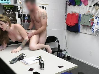 MILF there small tits blackmailed into sex there security officer
